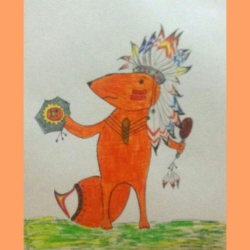Чем же еще по ночам заниматься... Индейский лис картинка фломастеры индеец арт