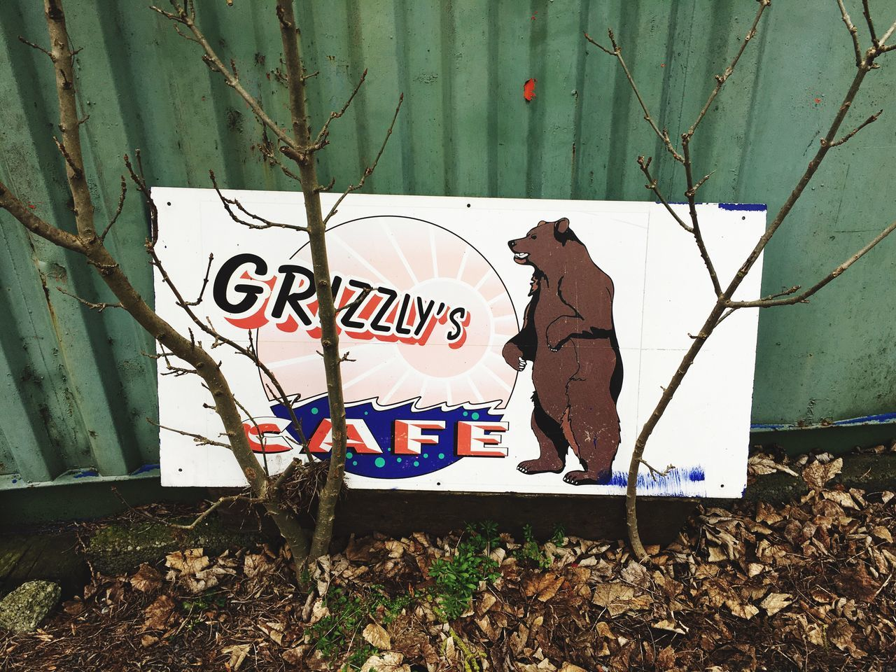 Sign for Grizzley's Cafe on the A1 Transport Cafe A1 Sign Road Bear