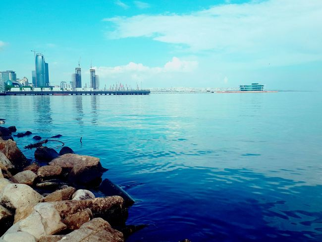 See Caspian Sea Caspian Sky City Cityview🌇 Baku Azerbaijan Landoffire Blue Rocks And Water Rock