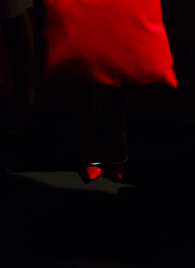 Ion Fiz during Mercedes Benz Fashion Week Autumn-Winter 2016 in Madrid. Backstage Black Clothes Cropped Editorial  Editorial Fashion Fashion Fashion Fashion Show Human Body Part Mbfw Mbfw2016 Red Red Shoes Women