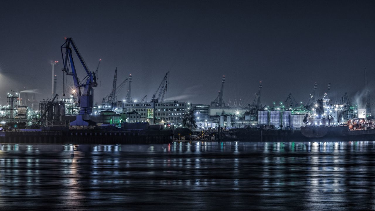 NightHarbor Blue City Cityscape Elbe River Hamburg Harbour Harbor Harbor Impressions Illuminated Impressions Night No People Outdoors Reflection River Sky Skyline Water Water Reflections Waterfront