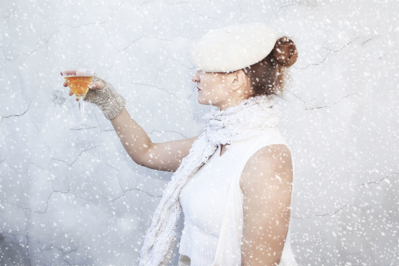 Cheers... Cheers Cheers! Day Motion One Person Outdoors Portrait Portrait Of A Woman Self Portrait Snow Day Snowing White White Album Wine Moments Winter Winter Queen Winter_collection Wintertime Uniqueness