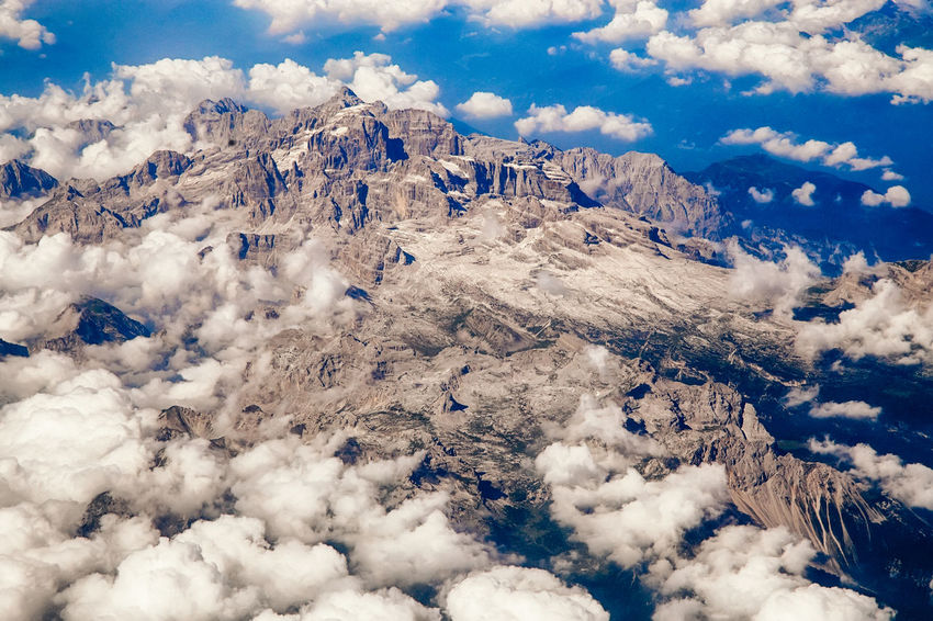 Aerial View Aeriel Shot Beauty In Nature Cold Temperature Day Dolomites, Italy Italy No People Outdoors Physical Geography Sky Snow Travel Travel Destinations