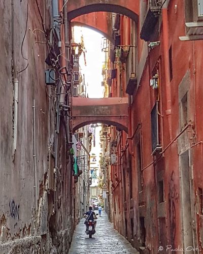 Vicoli di Napoli Building Exterior Built Structure People City WOW Looking Walking Travelling Beautiful Colors Italy Travel Napoli Streetphotography Vicoli Di Napoli Naples Road Napule Houses Campania Citylife Day