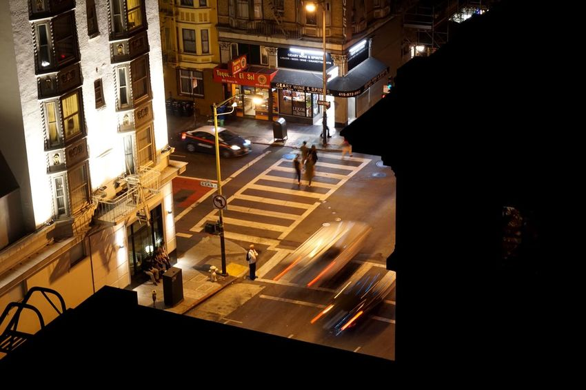 Architecture Illuminated Night High Angle View Built Structure City Building Exterior Sanfrancisco Nightlife Cars Blurred Motion MotionCapture Citylife California Mobility In Mega Cities Mobility In Mega Cities