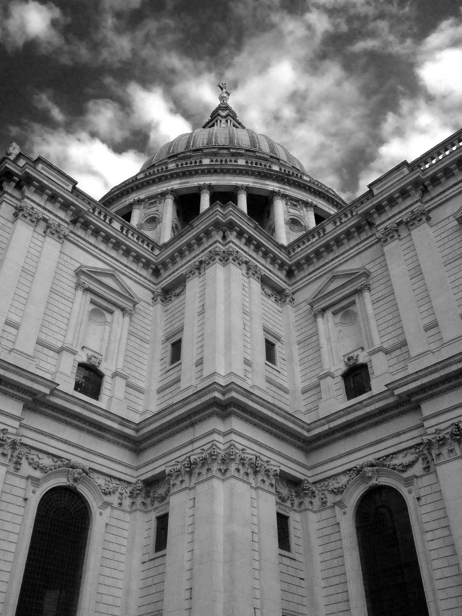 Detail unique angle of St Paul's Cathedral London by Christopher Wren. St Paul's Cathedral in Black and white. Dramatic clouds. Looking up at cathedral's cupula. Architecture Architecture Architecture Facade Architecture Photography Architecture_bw Architecturelovers Architecturephotography Architectureporn Building Exterior Built Structure City Of London City Of London Tourism Cloud - Sky London London Architecture LONDON❤ Low Angle View No People Outdoors Pediment St Paul's Cathedral St Paul's Cathedral London St Pauls Cathedral