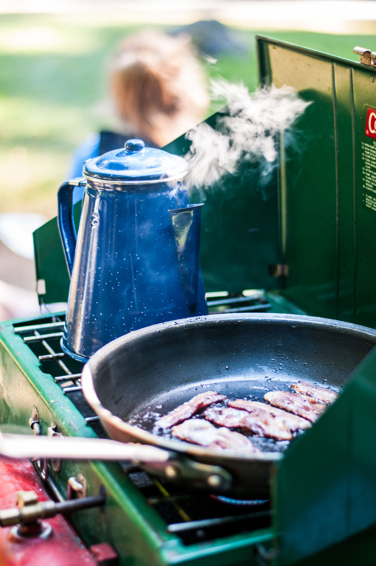 Adventure Backgrounds Bacon Camping Close-up Coffee Cooking Food Food And Drink Gas Lifestyle Outdoors Pan Pot Preparation  Stove