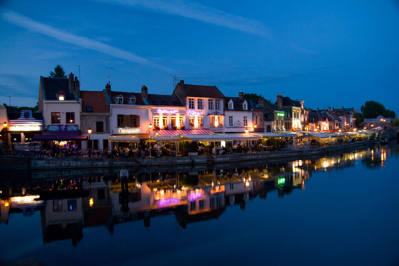 Amiens Blue Hour France Belu Blue Building Exterior Illuminated Night Quai Reflection Water
