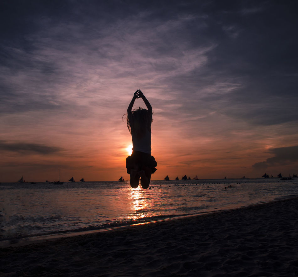 Beautiful stock photos of philippines, Arms Raised, Beach, Cloud - Sky, Cloudy