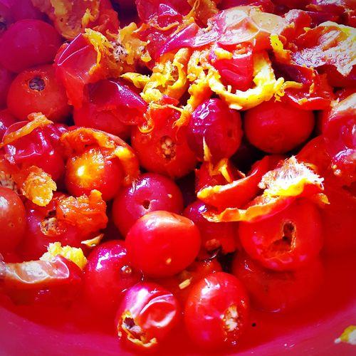 making rose hip jam...