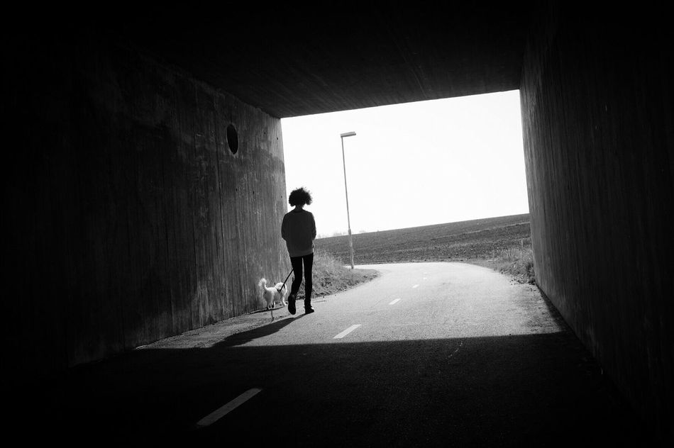 Tunnel Sunlight One Person Street Photography Monochrome Bw_collection Black And White Outdoors