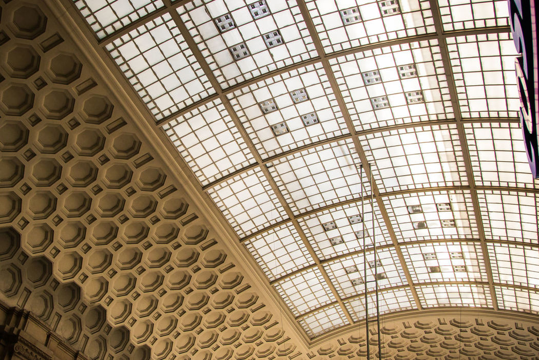 Architectural Feature Architecture Bahnhof Built Structure Ceiling City Day Design History Indoors  Leipzig Leipzig Hauptbahnhof Low Angle View Modern No People Pattern Window