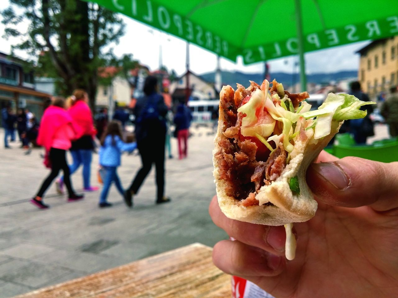 Street Food Worldwide Sarajevo Bascarsija Doner Kebab Friend Dripping Sauce Mouthwatering People City Photography Focus Art Food Meat Salad Final Bite Bite One Bite