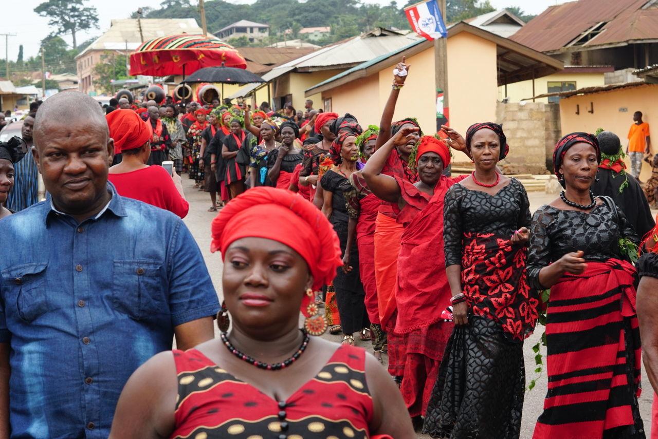 Funeral in Akropong Ghana of Chief. Ghana People Funeral Ceremony Coffins  Ghana West Africa.