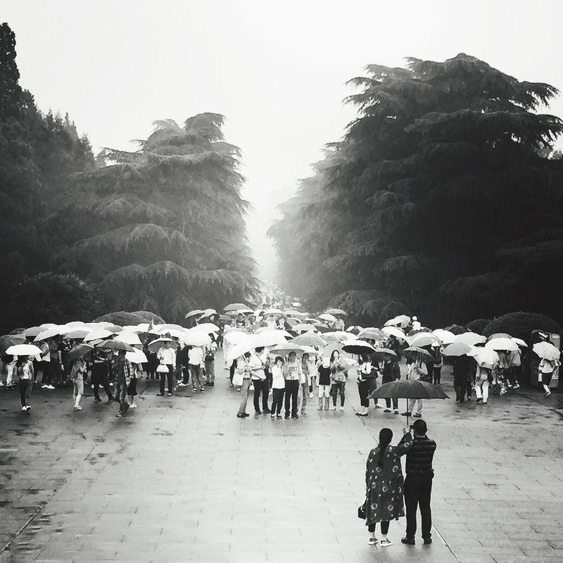 Feel The Journey Parents Wet Blackandwhite Nanjing Rainning Day Travel China