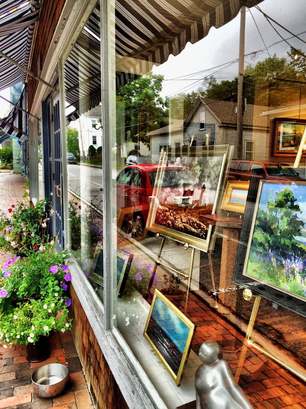 Reflection Window Art Gallery Downtown Taking Photos Maine Carol Sharkey Photography