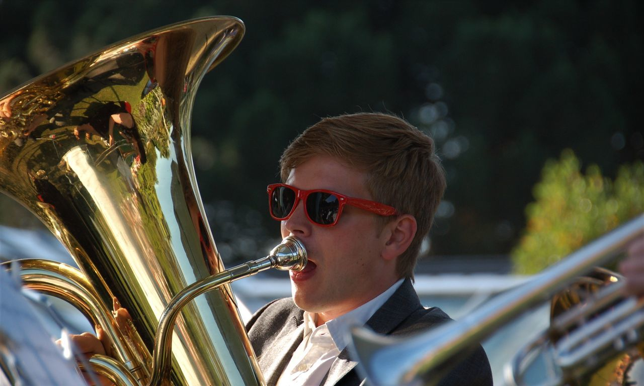 Brass Concert Music Musical Instrument Playing Red Sunglasses Tuba Cambridge Botanic Gardens