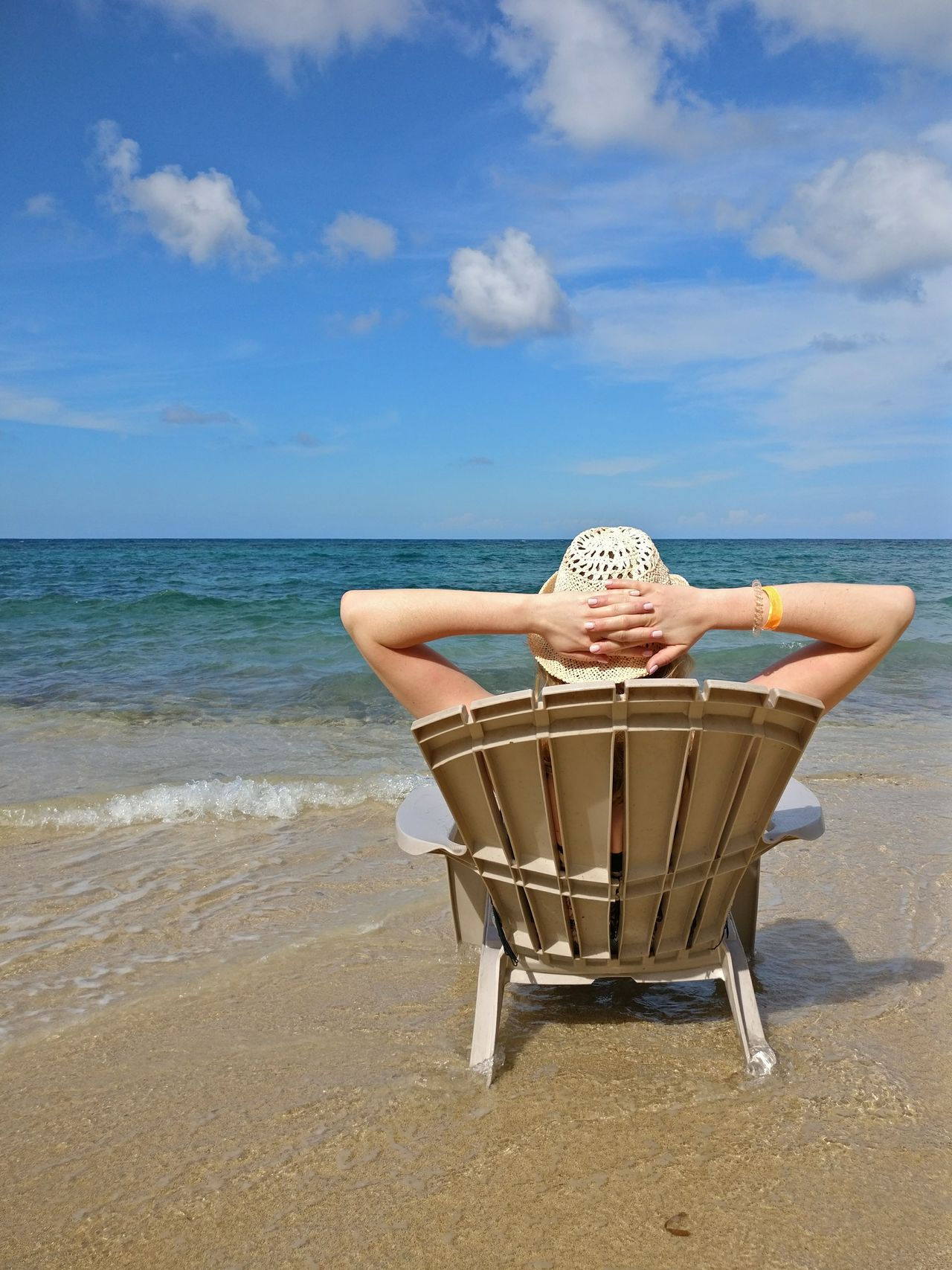 Beach Sea Blue Relaxation Vacations Sand Nature Travel Destinations Sky Clouds And Sky Caribbean Sea Tranquility Tranquil Scene Scenics Cloud - Sky Water Girl Woman Sitting On The Beach Beach Life Beach Day Beach Photography Sommergefühle Breathing Space