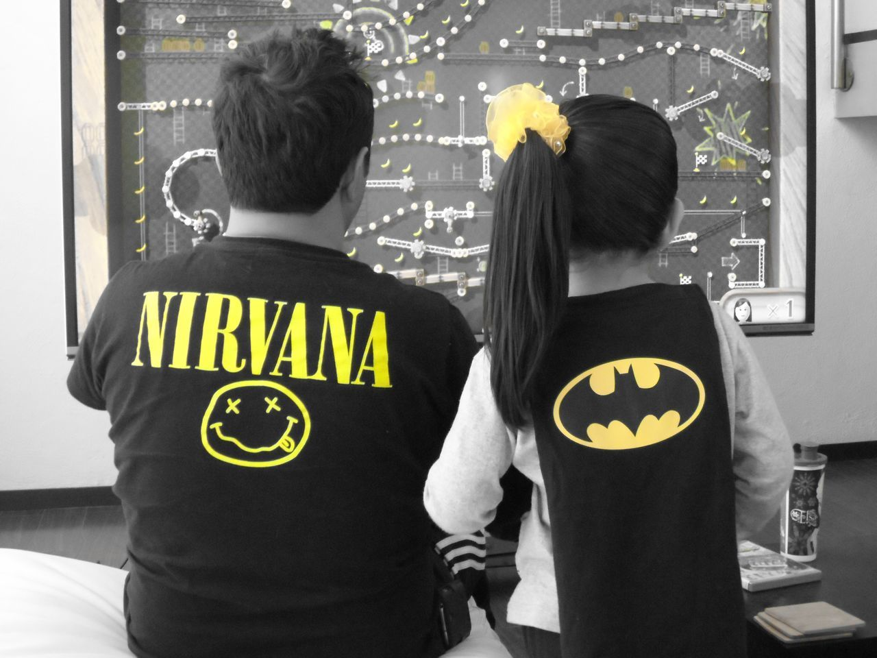Taking Photos Relaxing Enjoying Life Hanging Out Girl Toddler  Family Family❤ Father And Daughter Black And White Batman Batman Time Batman ❤ Nirvana Shirt Nirvana NirvanaFan Two Is Better Than One Fatherhood Moments