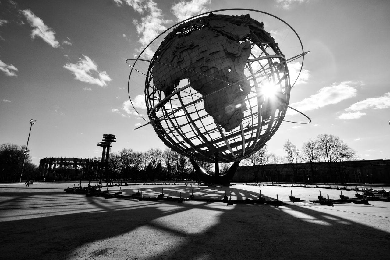 Unisphere Sun Outdoors Sky No People NYC The City Light Unisphere Queens New York City New York Black & White Blackandwhite Black And White Sun Glare