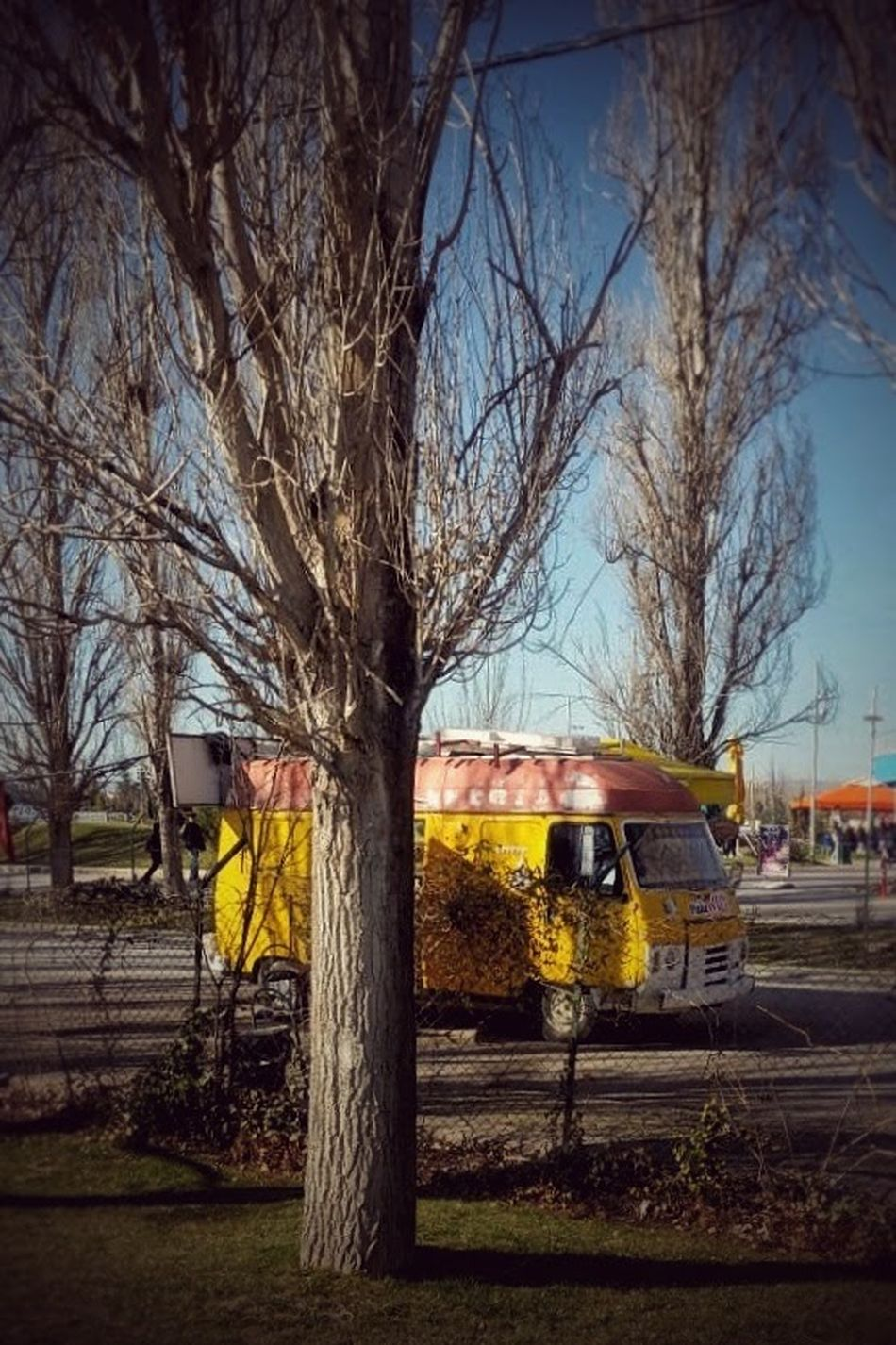 Bare Tree Tree Transportation Mode Of Transport Built Structure Outdoors Architecture Building Exterior Sky No People Public Transportation Land Vehicle Day Branch Nature Relaxing Taking Photos Karavan