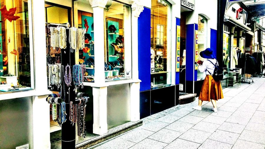 Streetphotography Multi Colored Outdoors Store Window Jewellery Shop Streetphotographer Austria Photos Travel Diaries Hues Of Blues