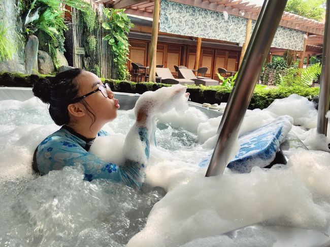 Let Them Be A Kid Pool Jacuzzi  Jacuzzi Time  Staycation Relaxing Chilin Kid Bubbles Morning Vibe Sun Sunshine