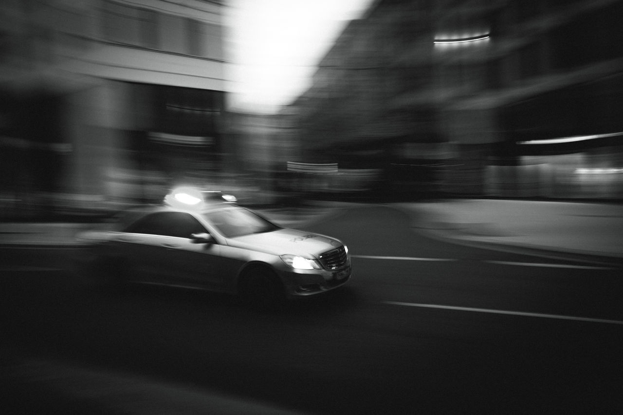 Blurred Motion Speed Car Land Vehicle Transportation Mode Of Transport Motion Night Road One Person Outdoors Defocused People G20 Gipfel G20 Meeting Politics Hamburg G20 Hamburg City No People Architecture Polizei City Street Road Politics And Government
