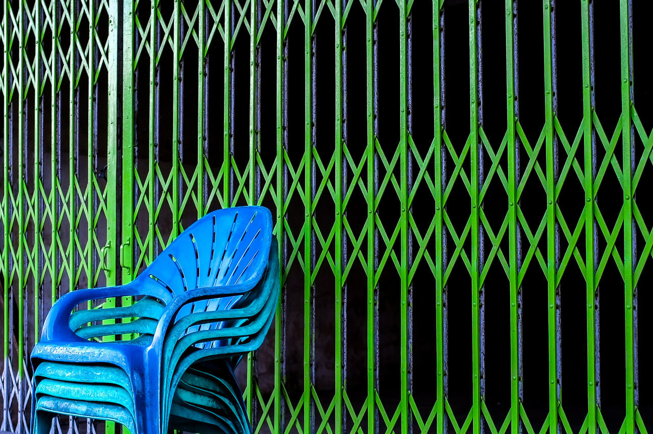 Blue And Green Blue Chair Green Gate Miles Away Security Security Door Art Is Everywhere