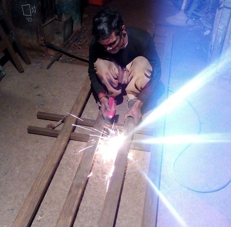 One Person Looking Down Manual Worker Metal Industry Occupation Factory Welder Hardworkingman Working