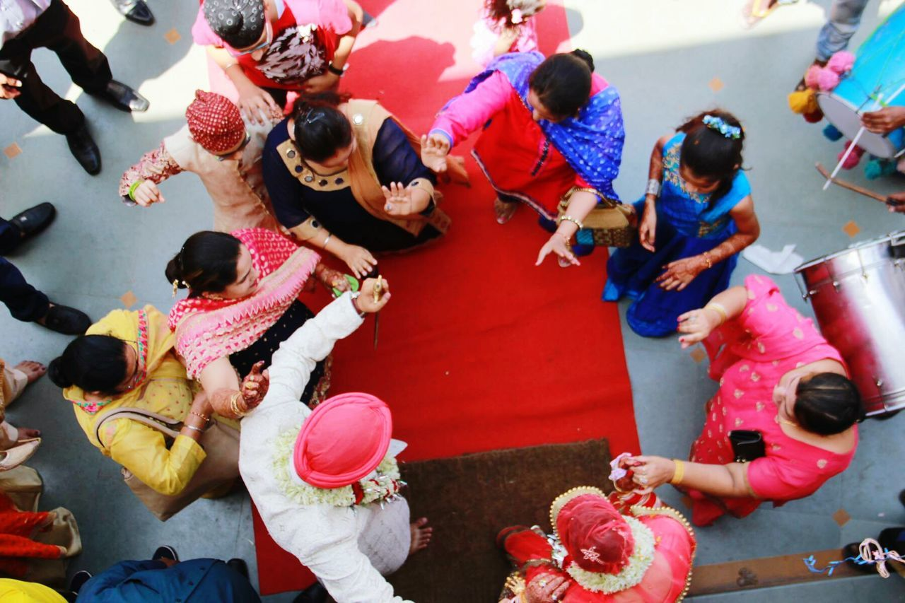 Flying High High Angle View Women Large Group Of People Group Of People Men Outdoors Day Shaadi Shaadiseason Punjabi Punjabistyle Punjabiculture Punjabiwedding Dance Groom Groomandbride Guest Colours Fun Child Photography Like4like Eye4photography  Singh