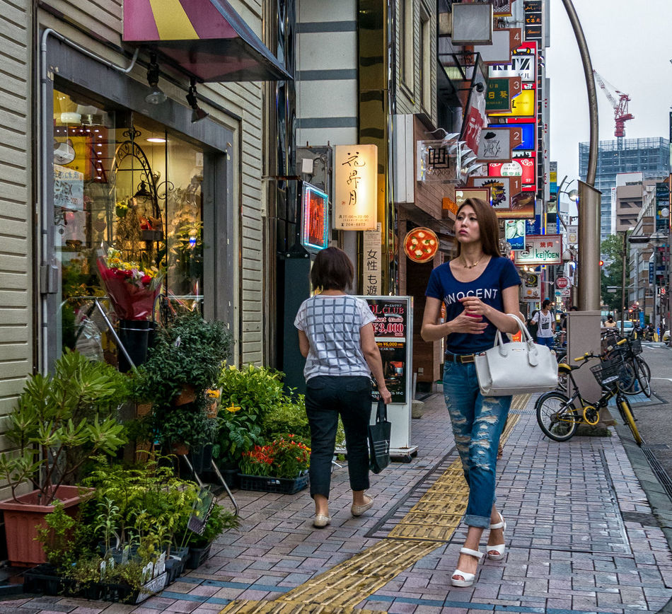 Around the Corner Japan Japanese  Japan Photography ASIA Street Streetphotography Streetfashion Fashion Style Colorphotography City Urban People Downtown Candid Storefront Signs Bag Jeans Panasonicgf7 Lumixgf7 Cooljapan