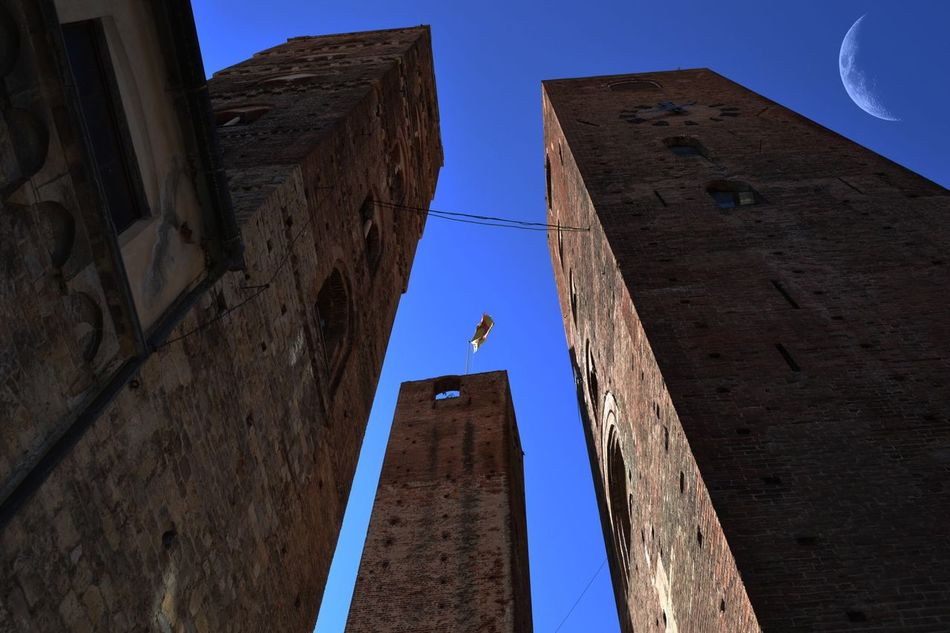Albenga Italy Towers Blue Sky Big Moon Morning Sky Low Angle View Clear Sky Built Structure Building Exterior Architecture One Animal Outdoors Sky Day Men