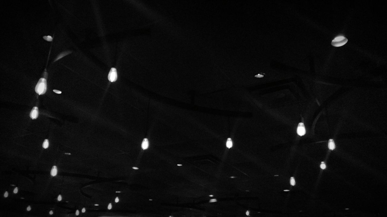 illuminated, ceiling, lighting equipment, low angle view, indoors, night, no people, hanging