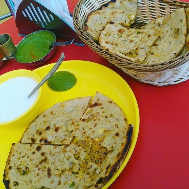 Fav breakfast PaneerPrantha Dahi Butter & Mintchutney ... 😋😋😋😋😋😋
