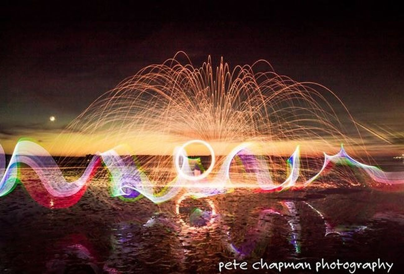 Poole Harbour Fire Poole, Dorset Longexposure Spinning Steel Wool Light Painting Sunset Light Orb Light Stick