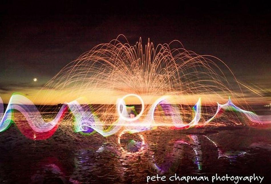 Poole Harbour Fire Poole, Dorset Longexposure Spinning Steel Wool Light Painting Sunset Light Orb Light Stick