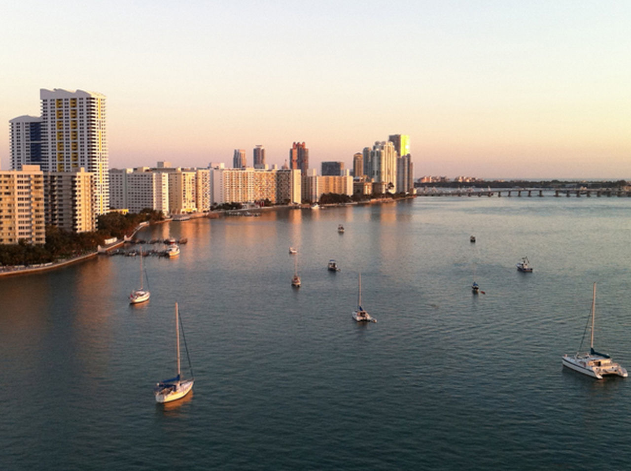 View from Jeane's Beauty In Nature Boat City Cityscape Day Miami Achorage Miami Beach Nature No People Outdoors Sailboats Sailboats At Anchor Scenics Sky Sunset Tranquil Scene Tranquility Urban Skyline Water Waterfront