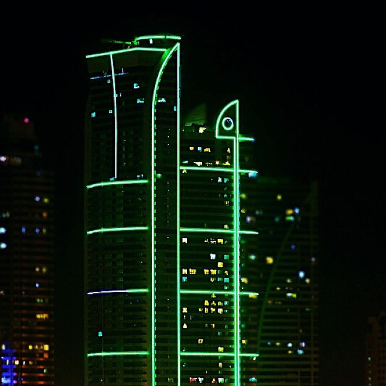Nightvibes Lights Shadow Emerald 30x building neon Corniche almajaz buhairah From my window part 2 :D