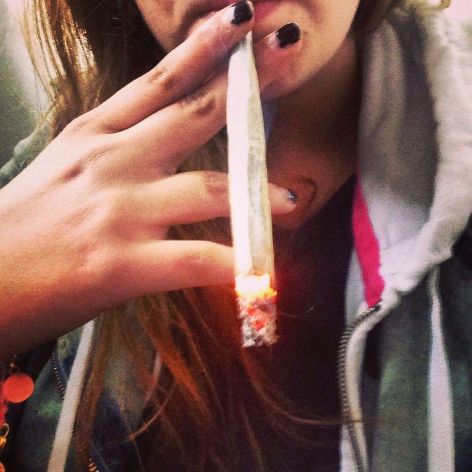 Weed Girl Coffee And Cigarettes Enjoying Life
