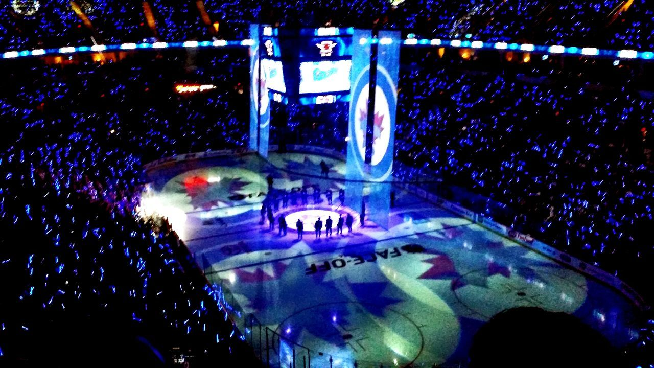2014/15 season home opener for the NHL Winnipeg Jets NHLJETS at the MTS Centre in Winnipeg Canada