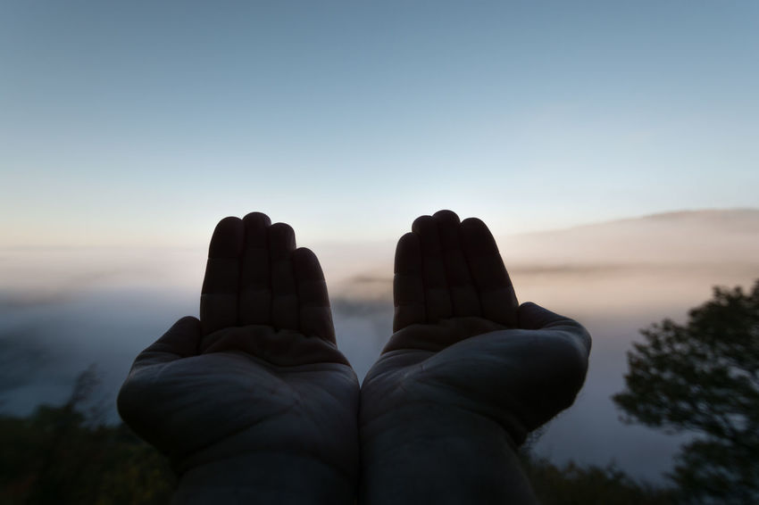 Nature Pray Praying Hands Spiritual Place Spirituality Beauty In Nature Clear Sky Close-up Day Human Body Part Human Hand Lifestyles Low Angle View Men Nature One Person Outdoors People Real People Sky Sunrise Tree