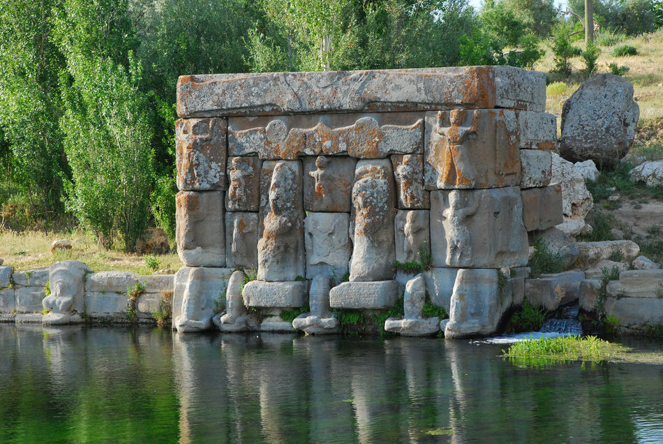Eflatunpinari Hittite Water Temple 13.c BC 13.c BC Ancient Civilization Ancient Ruins Arianna Cows Cows Grazing Day Hittite Monument Hittites Nature No People Outdoors Reliefs Son Goddess Water Water Temple Water Temple Of Hitties Wild Flowers Bloom Wild Poppies