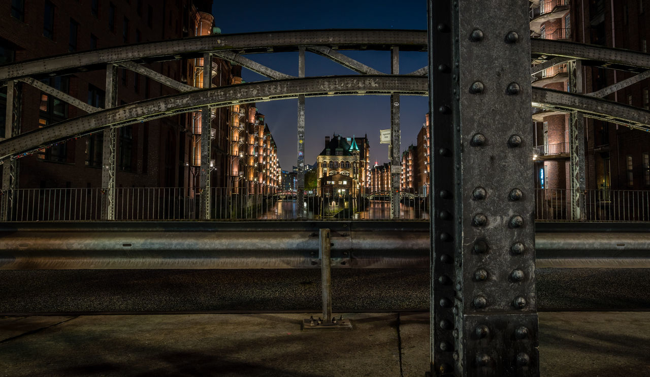 architecture, built structure, bridge - man made structure, connection, no people, outdoors, building exterior, water, night, city, sky