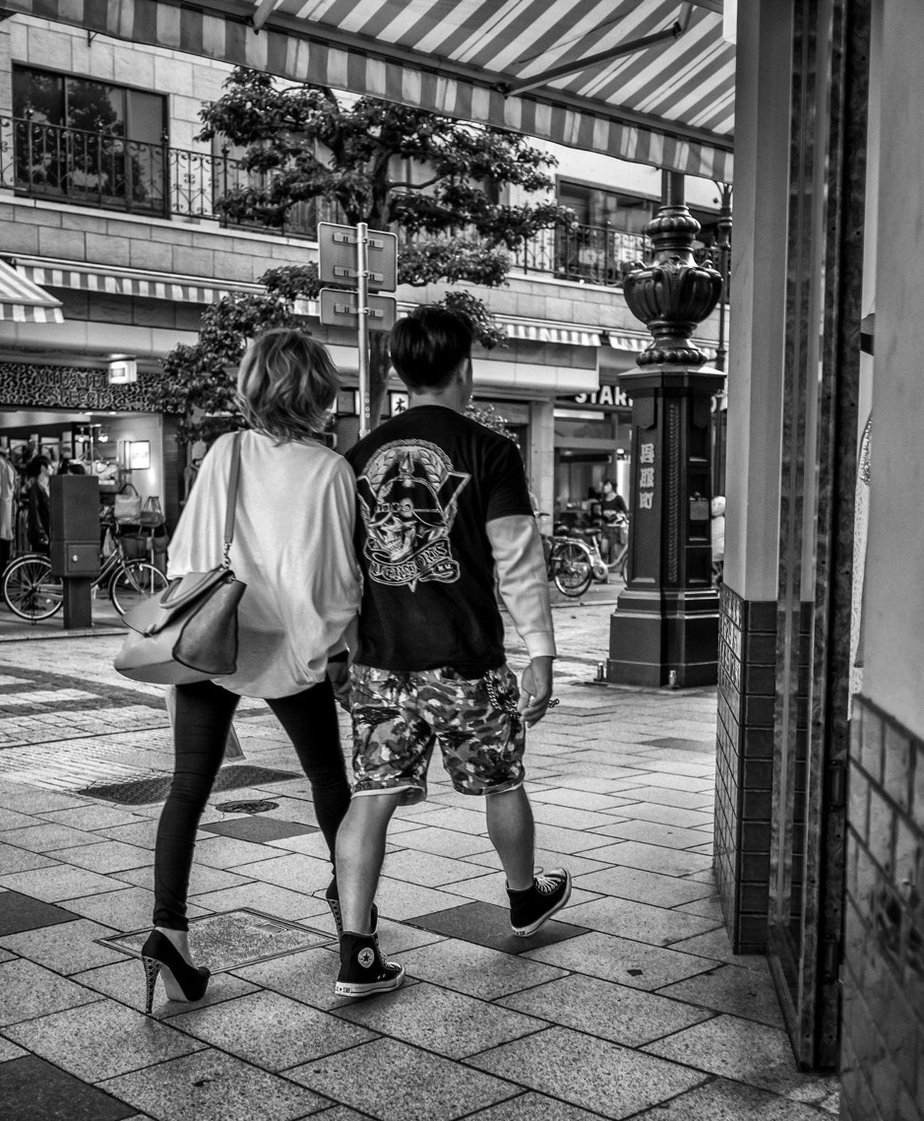 High Tops and High Heels Japan Japanese  Streetphotography Street Fashion Streetphoto_bw Blackandwhite Monochrome Couple Love FujiX100S