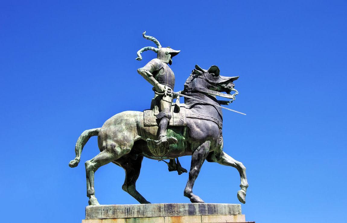 equestrian statue of Francisco Pizarro, Trujillo, Spain Blue Clear Sky Equestrian Extremadura Human Representation Monument Sculpture SPAIN Statue Tourism Travel Destinations Trujillo