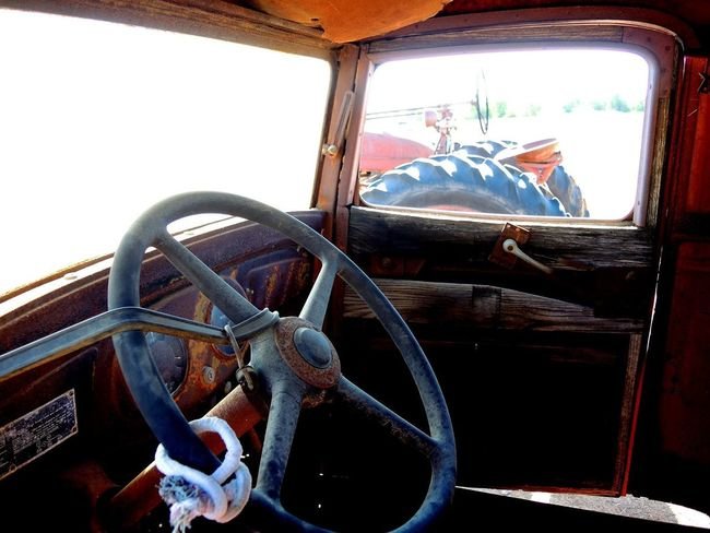 Old Truck Dashboard Land Vehicle Old-fashioned Rusty Metal Steering Wheel Truck Interior Vehicle Interior Vehicle Seat Wheel