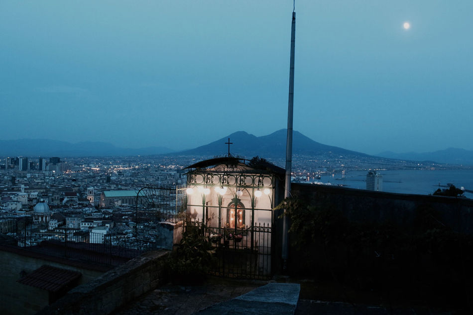 Blue Blue Hour Christian Holy Italy L'Heure Bleue - The Fav Light For Fotographers Light Light And Shadow Maria Monte Santo Montesanto Moon Moonlight Mountains Naples Napoli Skyline Vomero