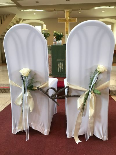 Marriage  Lovers Church Bride bride and groom Indoors  No People Flower Close-up Day