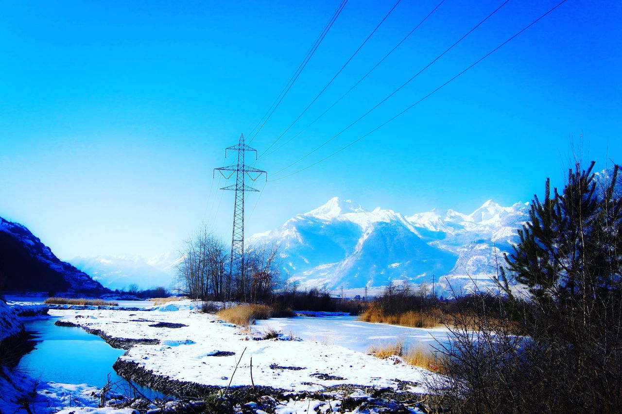 Cold Temperature Snow Winter Blue Electricity  Nature Cable Power Line  Weather Power Supply Scenics Connection Mountain Sky Tree Beauty In Nature Mountain Range Tranquil Scene Tranquility Day Landscape EyeEm Nature Lover Eye4photography  EyeEm Gallery